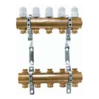 Блок коллекторный с термостатическими вставками M30x1,5 и запорными клапанами