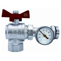 Кран шаровый  латунный коллекторный с  термометром (диапазон 0-80 ⁰С, D=40 мм), угловой